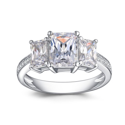 Emerald Cut White Sapphire 925 Sterling Silver Engagement Ring