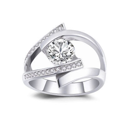 Round Cut White Sapphire 925 Sterling Silver Engagement Ring