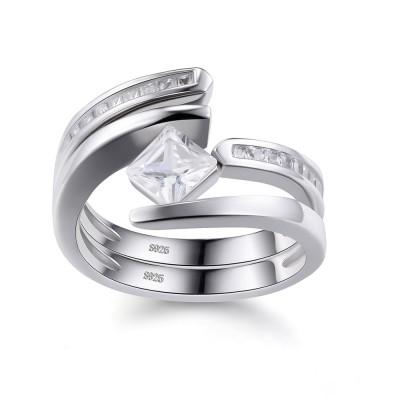 Princess Cut White Sapphire 925 Sterling Silver Women's Ring