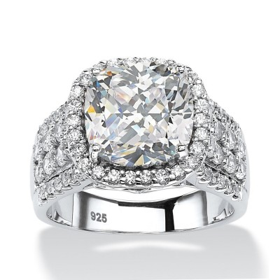 Cushion Cut White Sapphire Sterling Silver Halo Engagement Rings