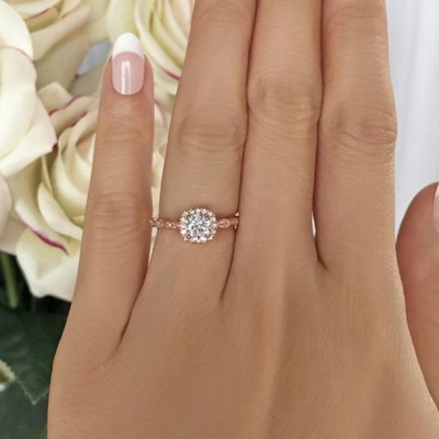 Round Cut White Sapphire 925 Sterling Silver Rose Gold Halo Engagement Rings