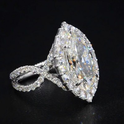 Marquise Cut White Sapphire 925 Sterling Silver Halo Engagement Rings