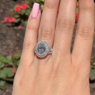 Oval Cut White Sapphire 925 Sterling Silver Double Halo Engagement Rings