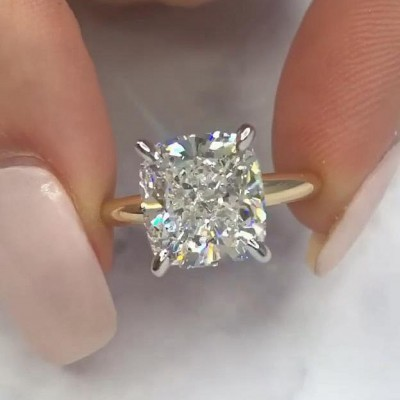 Cushion Cut White Sapphire 925 Sterling Silver Gold Engagement Rings