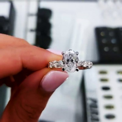 Oval Cut White Sapphire 925 Sterling Silver Engagement Rings