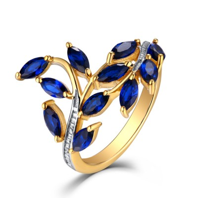 Marquise Cut Sapphire Gold 925 Sterling Silver Wedding Bands