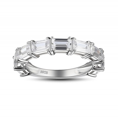 Emerald Cut White Sapphire 925 Sterling Silver Women's Wedding Bands