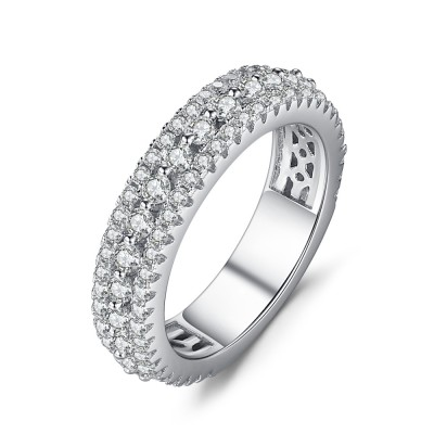 Round Cut White Sapphire 925 Sterling Silver Women's Wedding Bands