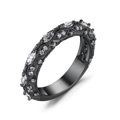 Round Cut White Sapphire Black 925 Sterling Silver Women's Wedding Bands