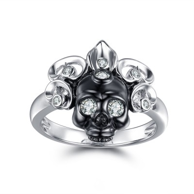 Classic Round Cut White Sterling Silver Skull Ring