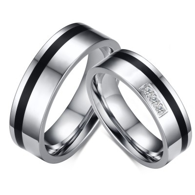 Black and Silver Titanium Steel Gemstone Promise Ring for Couples