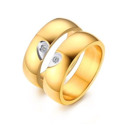 Elegant Heart Design Gold Titanium Steel Gemstone Promise Ring for Couples