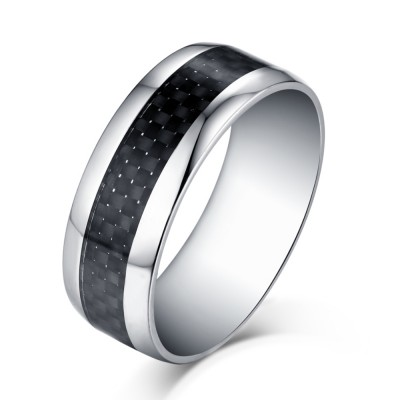 Black and Silver Titanium Steel Men's Ring