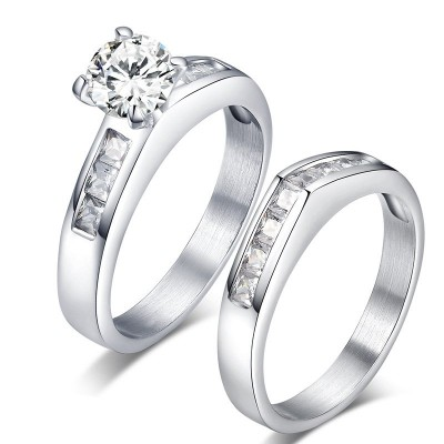 Round & Princess Cut White Sapphire Titanium Steel Silver Promise Rings for Couples