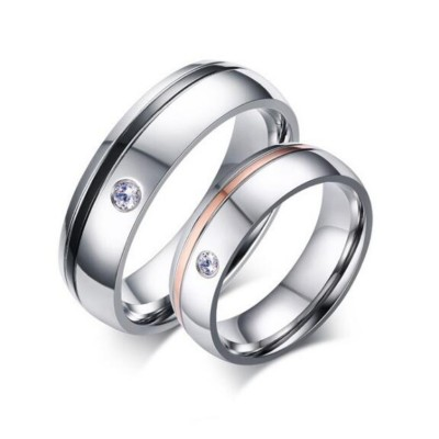 Black & Rose Gold Silver Titanium Steel Promise Rings for Couples
