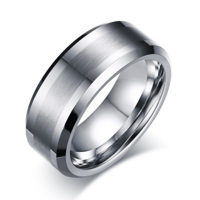 Tungsten Silver Men's Ring