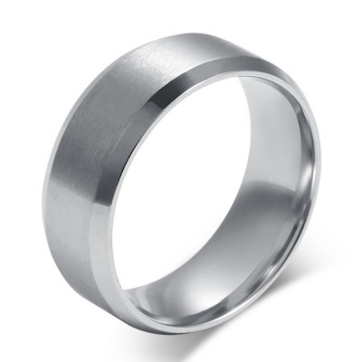 Titanium Simple Silver Men's Ring