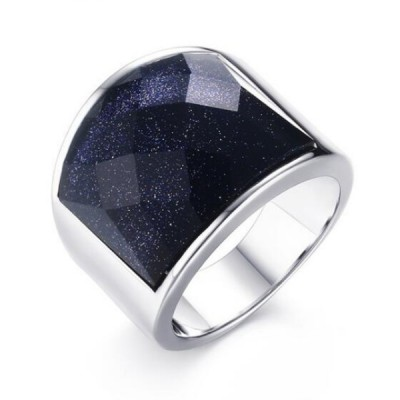 Titanium Dark Navy Galaxy Silver Men's Ring