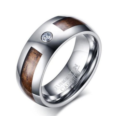 Tungsten Silver Round Cut White Sapphire Brown Men's Ring