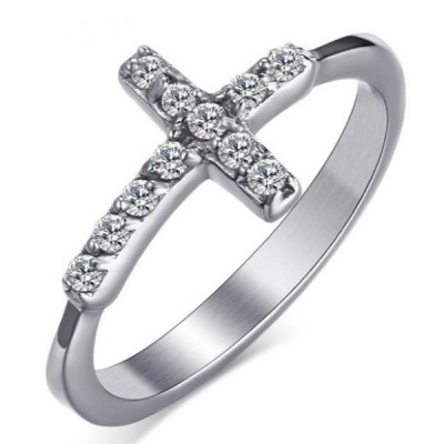 Titanium Cross Round Cut White Sapphire Silver Promise Rings For Her
