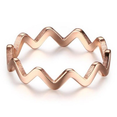 Titanium Ripple Rose Gold Promise Rings For Her