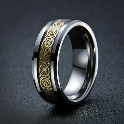 Dragon Design Tungsten Viking Men's Ring