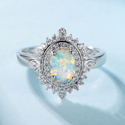 Oval Cut Opal 925 Sterling Silver Halo Engagement Ring