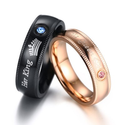 Her King His Queen Black & Rose Gold Titanium Couple Rings
