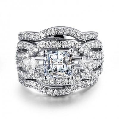 Princess Cut White Sapphire Three-Stone 3-Piece Bridal Sets