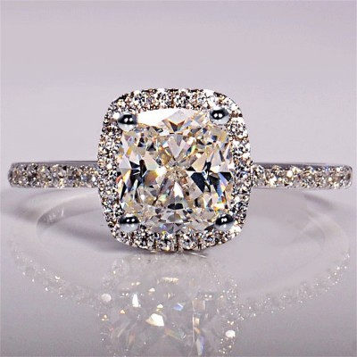 Cushion Cut White Sapphire Halo Engagement Rings