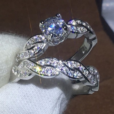 Round Cut White Sapphire Infinity Bridal Sets
