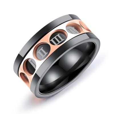 Titanium Roman Numerals Rotatable Men's Ring