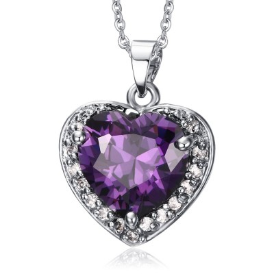 Heart Design 925 Sterling Silver With Amethyst Necklace