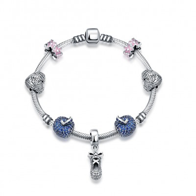 Hearts Pink and Blue Small Accessories S925 Silver Bracelets