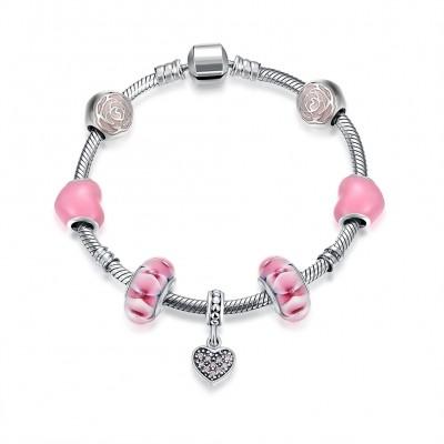 Pink Rose Heart Pendant S925 Silver Bracelets