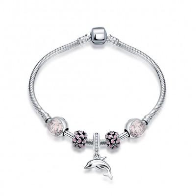 Pink Hearts Flower Dolphin Pendant S925 Silver Bracelets
