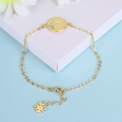 Rose Gold/Silver/Gold Love You Round Pendant S925 Silver Bracelets