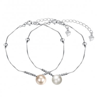 White/Pearl Pink Pearl S925 Silver Bracelets