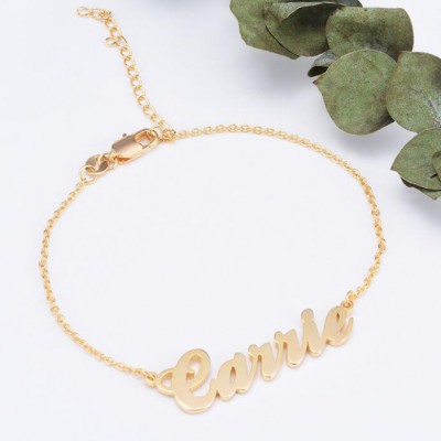 925 Sterling Silver Gold Personalized Name Bracelet - Length Adjustable