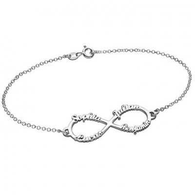 925 Sterling Silver Infinity Four Name Bracelet