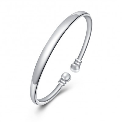 Simple and Nice Silver Titanium Bangles