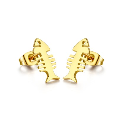 Fish Design Gold 925 Sterling Silver Earrings