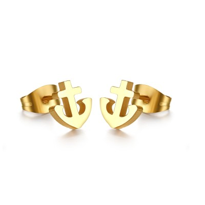Anchor Design Gold 925 Sterling Silver Earrings