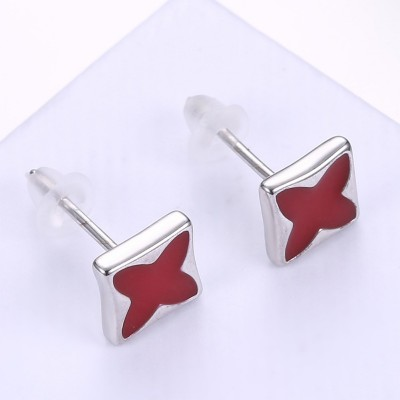 Four Point Star Red S925 Silver Earrings