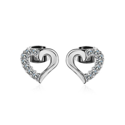 Round Cut White Sapphire Heart S925 Silver/Gold Earrings