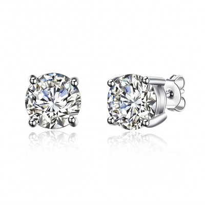 Round Cut White Sapphire S925 Silver Earrings