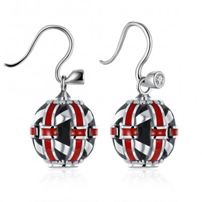 Red/White Sapphire S925 Silver Earrings