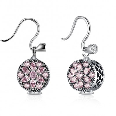 Pear and Round Cut Pink Sapphire S925 Silver Earrings