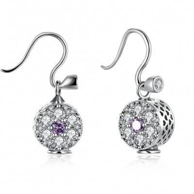 Round Cut Amethyst White Sapphire S925 Silver Earrings