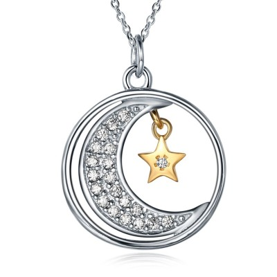 Round Cut Silver White Sapphire Gold Star S925 Silver Necklaces